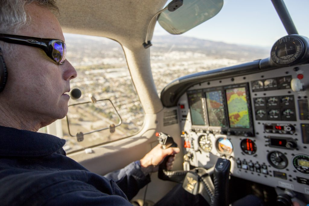 Joe Proudman / UC Davis..Pilot and UC Davis project scientist Stephen Conley flies towards the Aliso Canyon Natural Gas Storage Facility leak on Friday, Jan. 8, 2016. Conley, flying in a pollution-detecting airplane, provided the first estimates of methane emissions spewing from the Southern California leak.